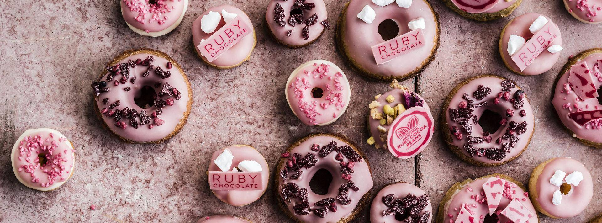 ruby chocolate baked donuts