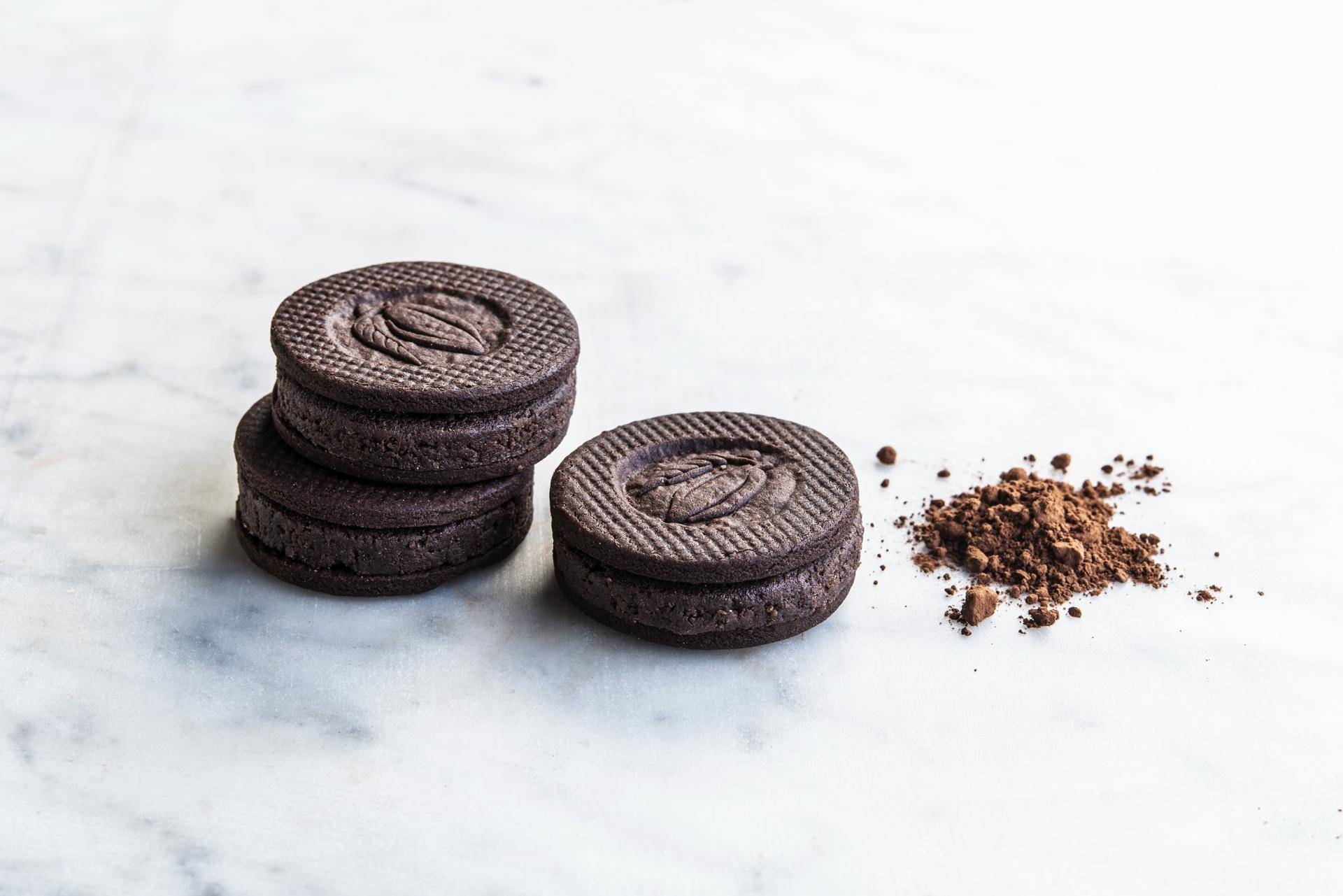 Cookies made with natural dark cocoa powder