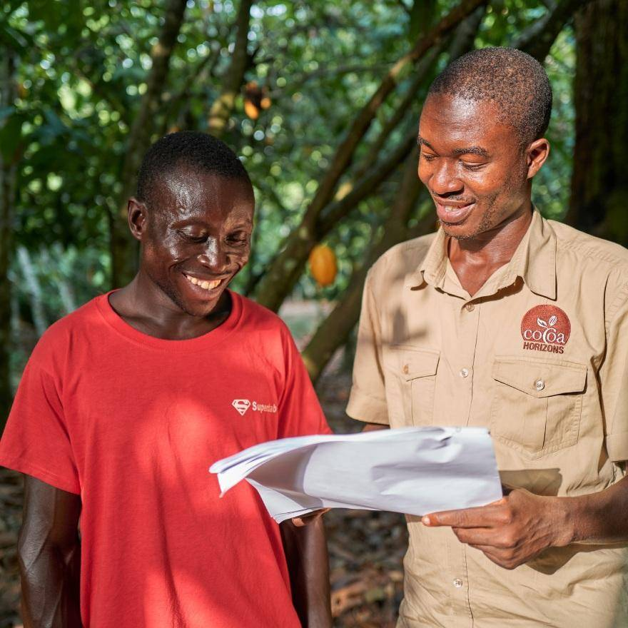 Cocoa farmer with his Cocoa Horizons Coach