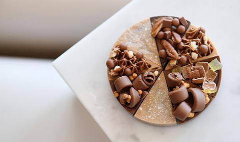 chocolate t'art made with guanduja, lemon and caramel by martin diez