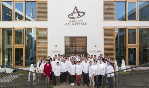 Group picture in front of new CHOCOLATE ACADEMY center Milan/Italy