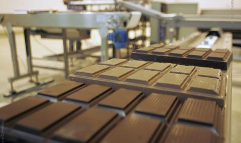 Barry Callebaut chocolate blocks in factory