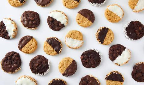 cookies dipped in white and dark chocolate