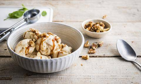 A Divine Caramel Ice Cream Experience, made with Caramel Sauce and Caramelized Nuts