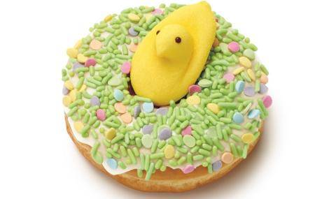 Dunkin' Donuts PEEPS® Donut with pastel sprinkles and a yellow chick - Easter decorations