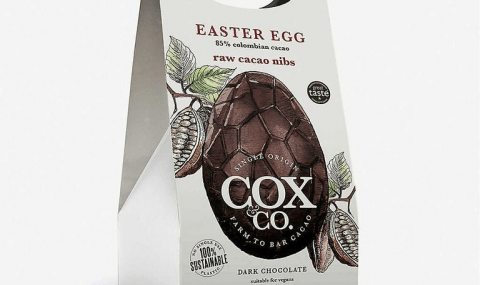 COX & CO Colombian Origin  85% dark chocolate Easter egg with raw cacao nibs