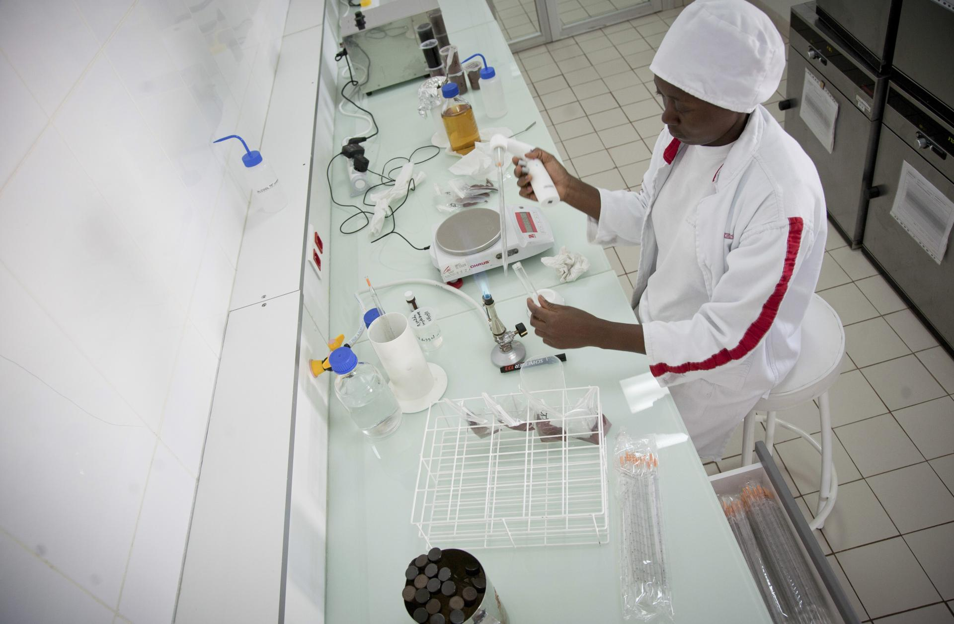 Barry Callebaut female factory worker in Cameroon, Africa