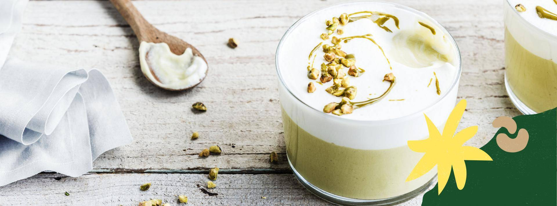 Plant-based dessert with vegan pistachio paste made by Martin Diez