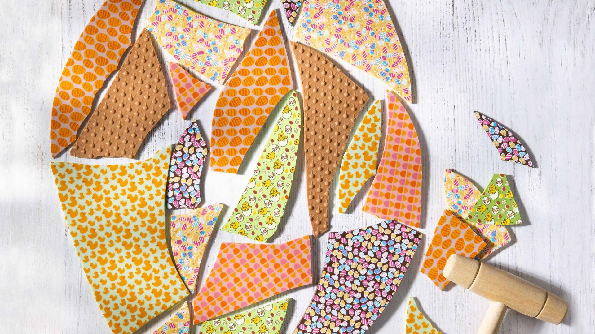 Slabs of colored chocolate with Easter prints and textures