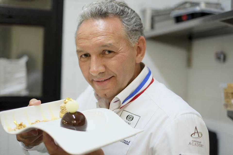 Philippe Bertrand, MOF, with his dessert creation - the Paris-Brest