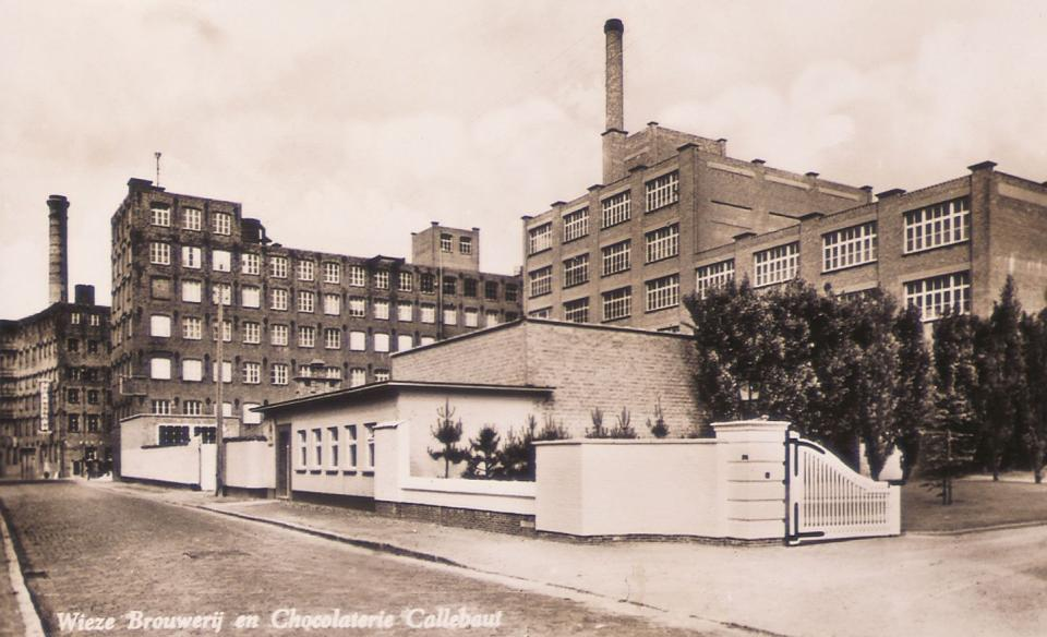 Vintage postcard of chocolate factory in Belgium