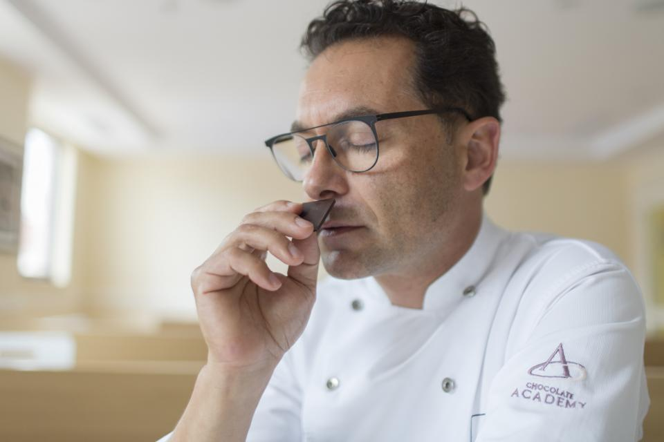 chef smelling chocolate