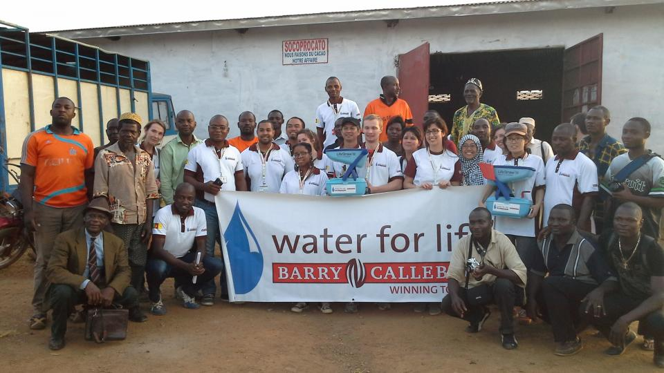 Barry Callebaut Water for Life champions during Cameroon cocoa study tour - at the cocoa farmer cooperative Socoprocato