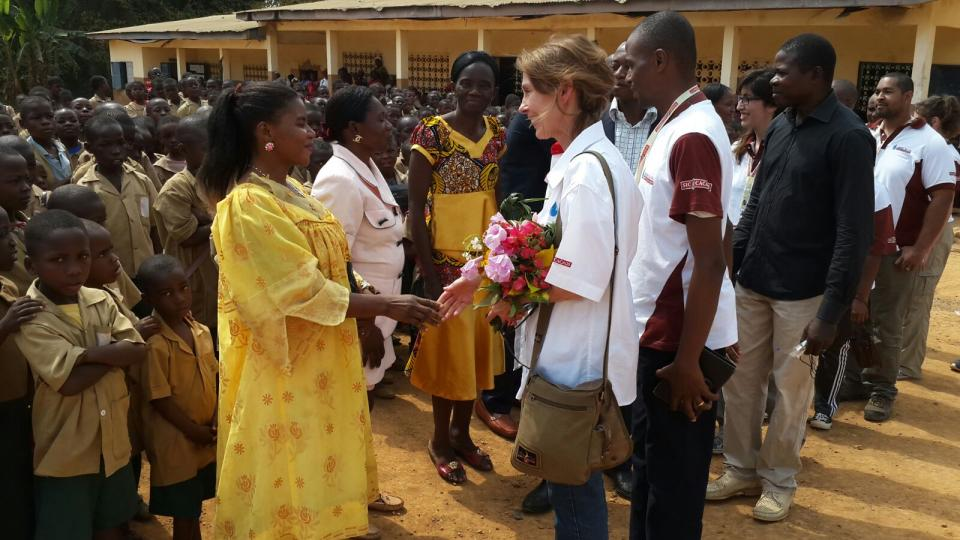 Barry Callebaut Water for Life champions during Cameroon cocoa study tour - at Bioka primary school