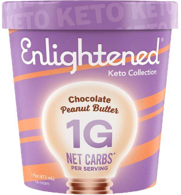 A purple pint carton of Enlightened Keto Chocolate Peanut Butter Ice Cream