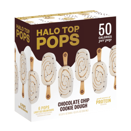 A white and brown box of chocolate chip cookie dough halo top pops