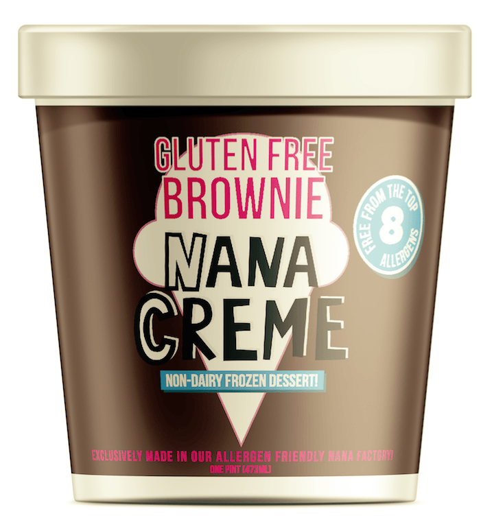 A brown ice cream pint with a white top that says Gluten-Free Brownie Nana Cream