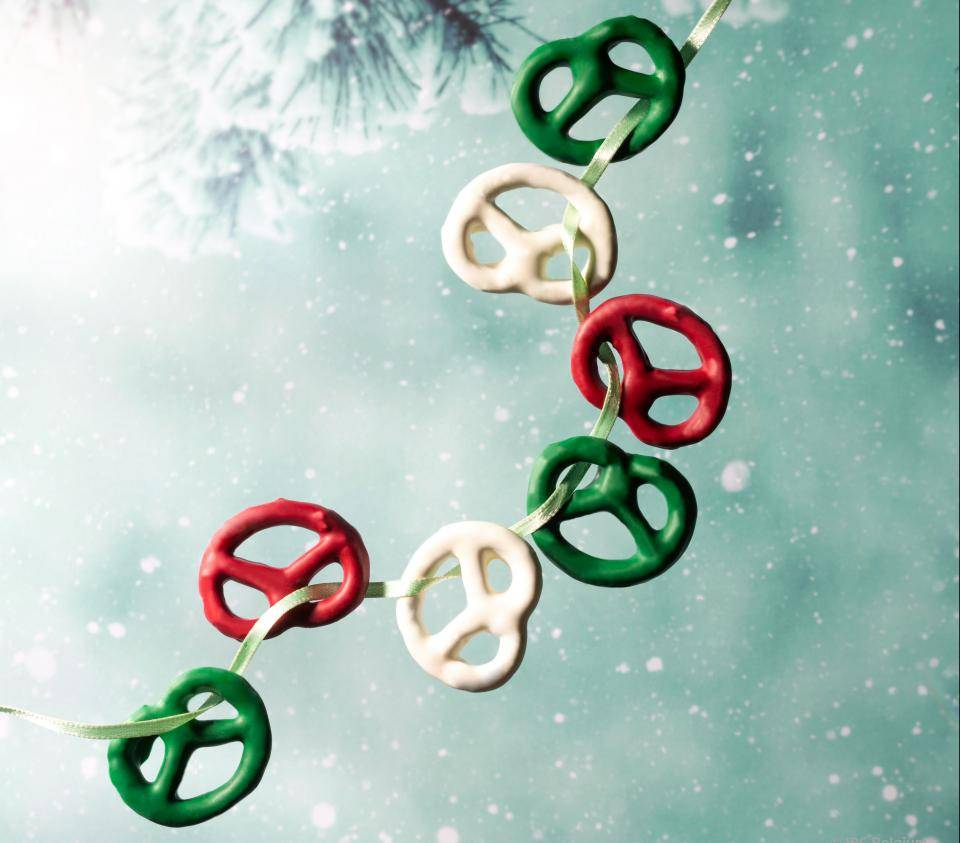 pretzels, white, red, green chocolate, christmas tree