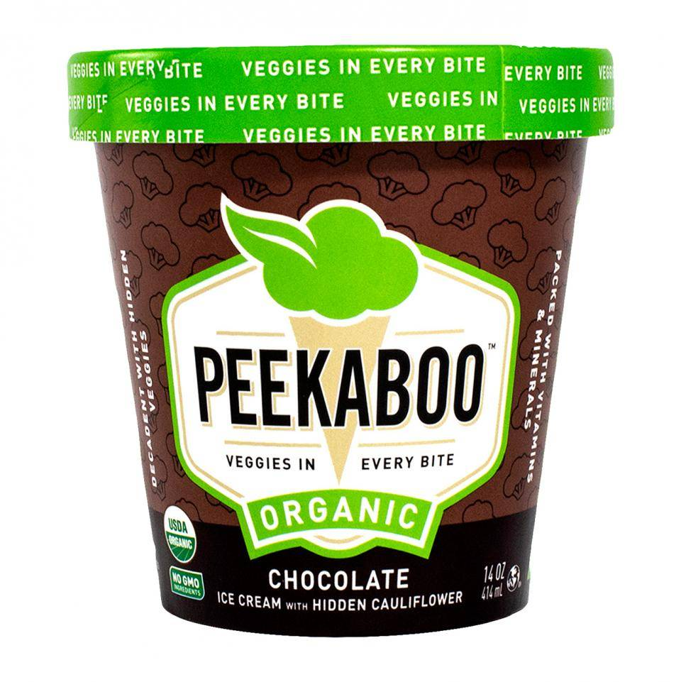 A brown ice cream pint carton of chocolate ice cream, with a green lid, that says Peekaboo: Organic