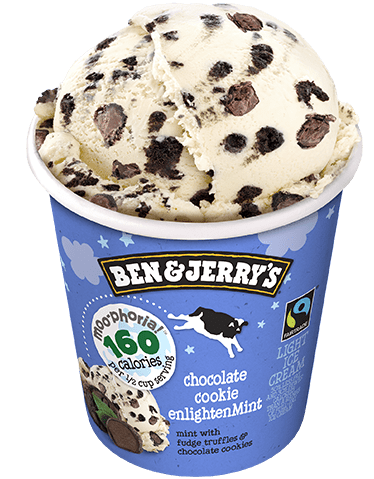 Chocolate Cookie Enlightenment, part of Ben & Jerry's new Moo-phoria line of ice creams, is delicious and indulgent at only 160 calories per serving.