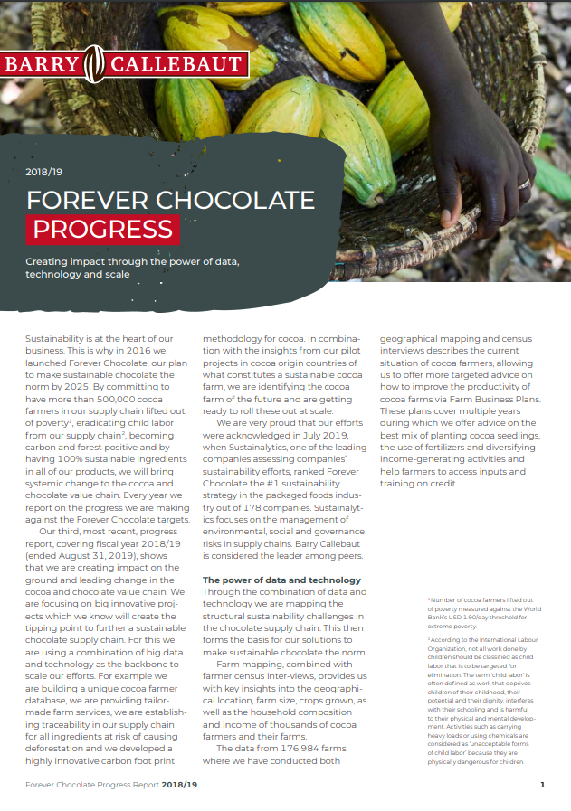 Barry Callebaut Forever Chocolate Progress Report 2018/19
