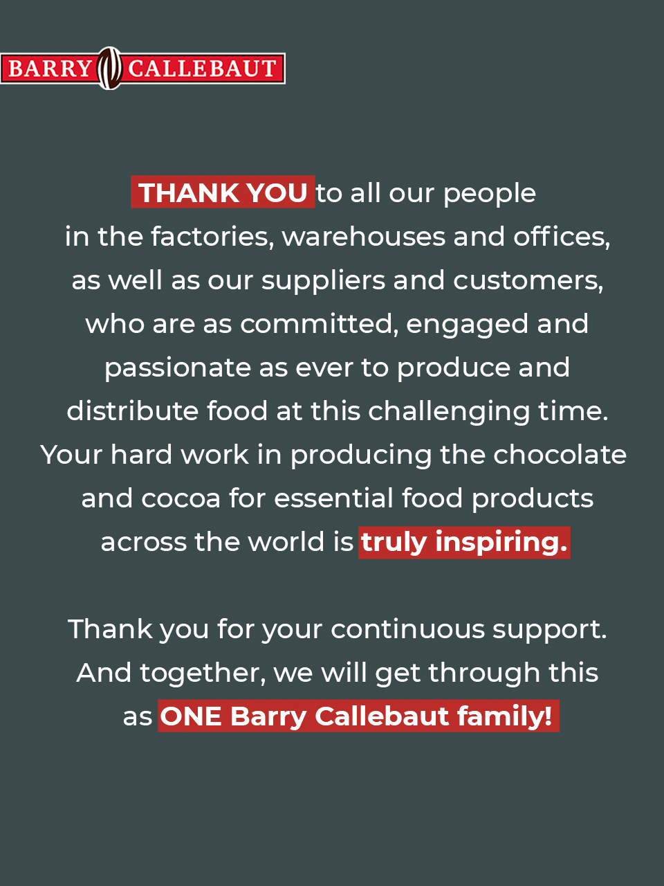 Barry Callebaut Thank You Message COVID-19 Employees, Customer, Suppliers