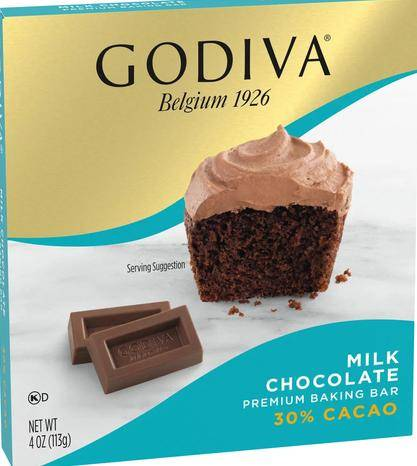 Box of Godiva milk chocolate baking bar