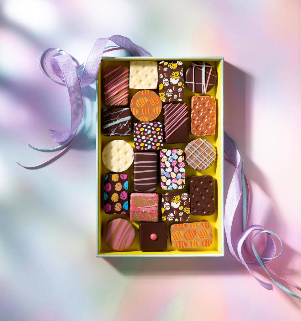 Box of Easter pralines with various prints