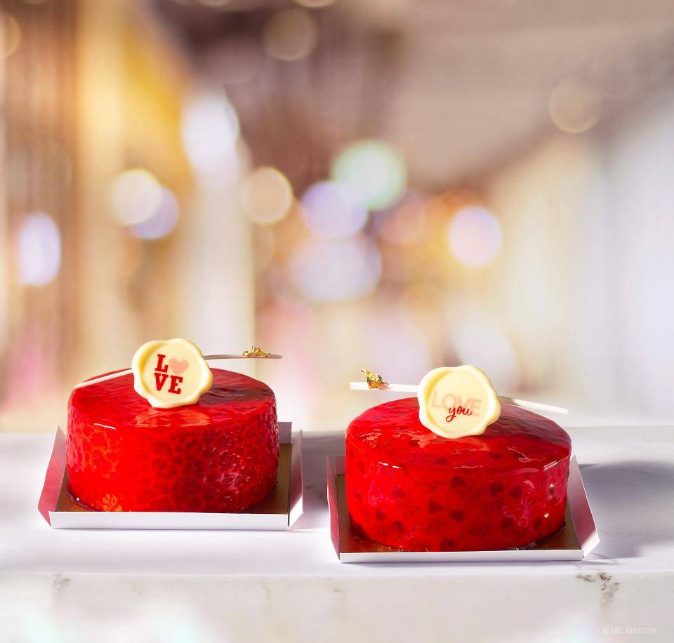 Valentine's Day desserts with Valentine's Day chocolate decorations