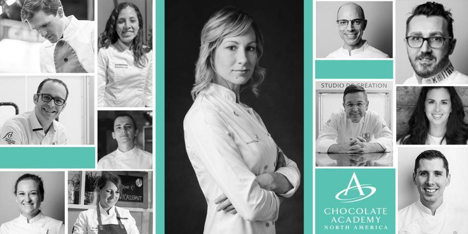 collage of chef images from chocolate academy north america