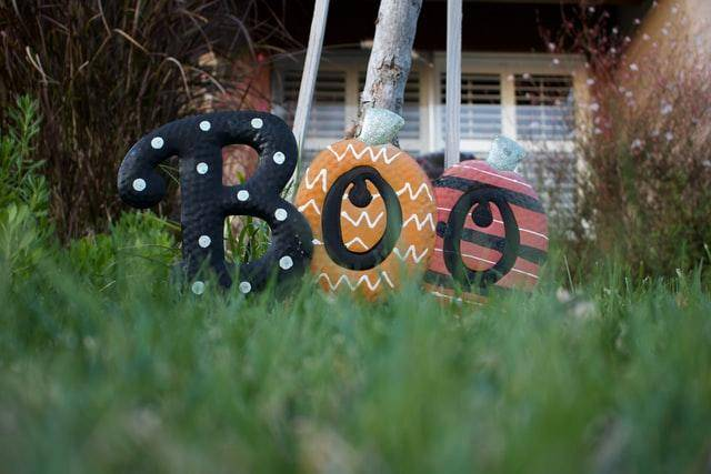 boo sign in grass