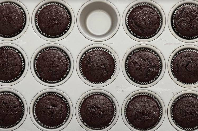 chocolate cupcakes, in pan, without frosting