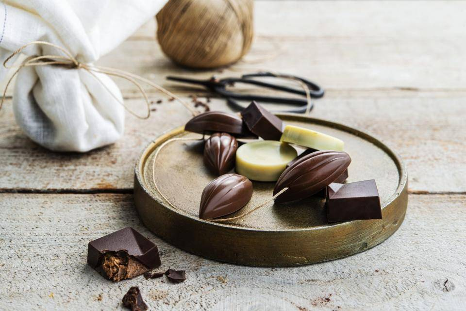 chocolate treats on gold dish