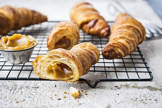 Croissants with a soft caramel filling