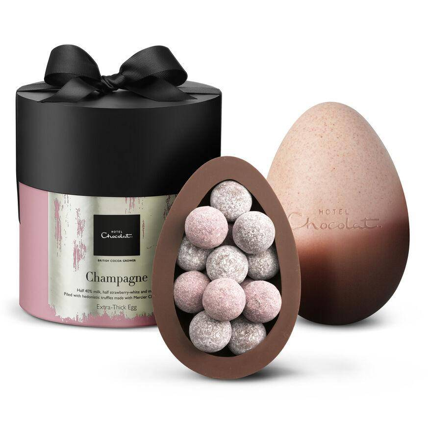 Easter egg filled with classic and pink Marc de Champagne truffles
