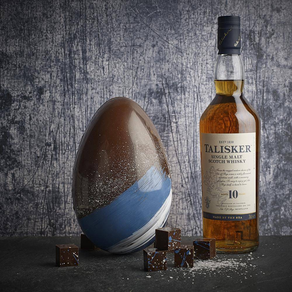 Premium dark chocolate sea salted Easter egg filled with whisky sea salted caramels