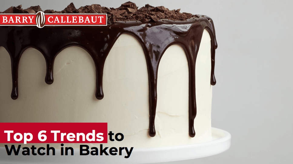 Cover Image of Bakery Trends guide - vanilla cake with chocolate drizzled on top