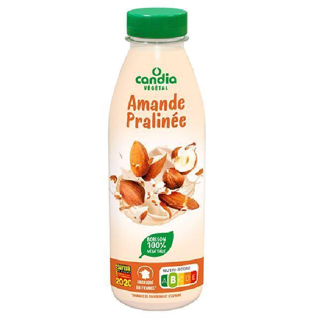"Candia (France): indulgent and nutritious almond-based drink. A silky texture is expected thanks to the link to ""praliné almonds""."