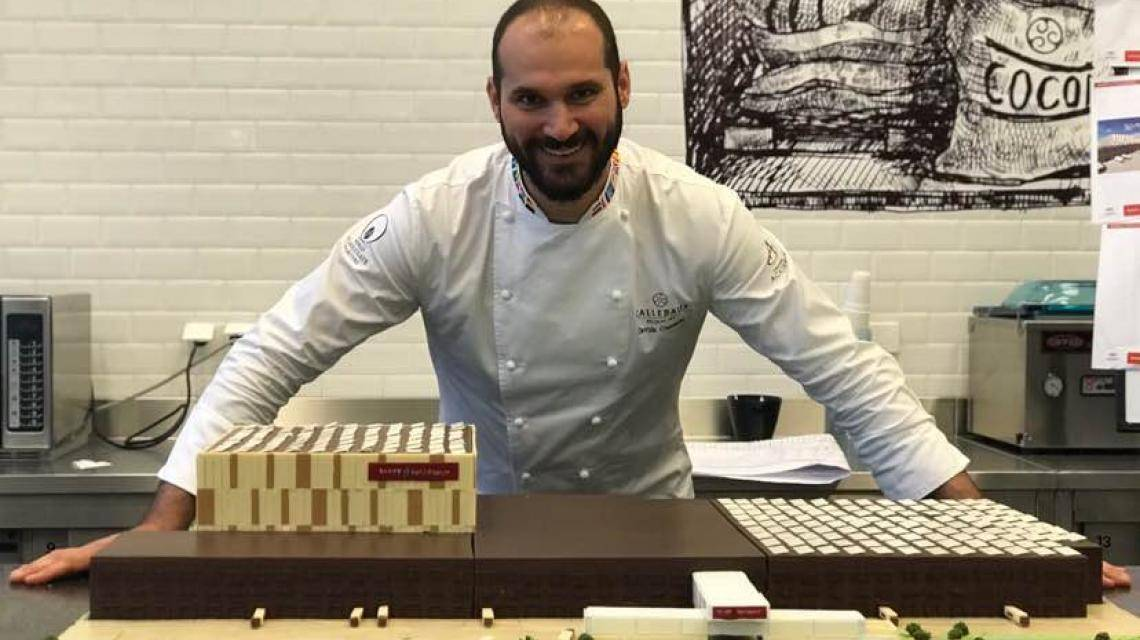 Davide Comaschi building Barry Callebaut's new Global Distribution Center in chocolate