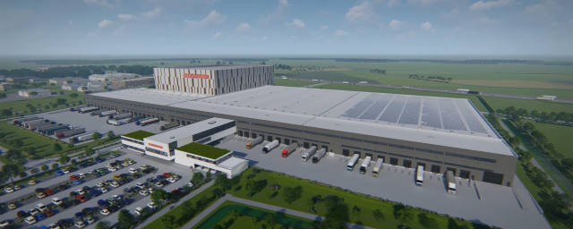 Render Impression of Barry Callebaut's new Global Distribution Center in Lokeren