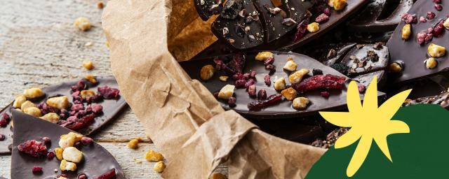 Dark and milk chocolate leaves for snacking