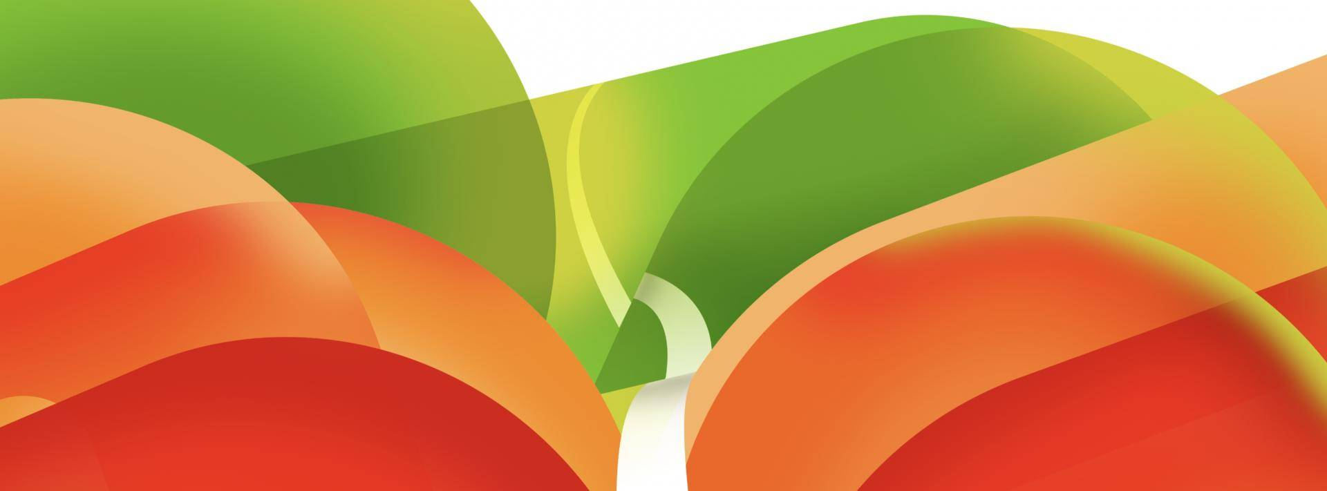red, green, and orange transparent figures over white background