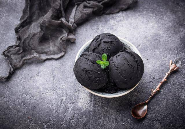 bowl of charcoal ice cream